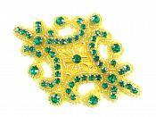 "Green Gold Applique Crystal Rhinestone Gold Beaded 4""  XR391"