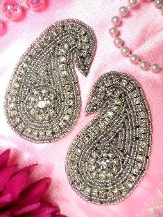 XR42  Black Backing Paisley Glass Crystal Mirror Pair Beaded Rhinestone Appliques 3.25""