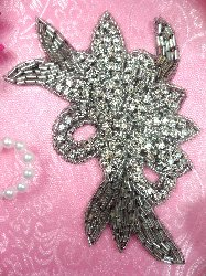 XR49 Black Backing Crystal Rhinestone Applique Silver Beaded Floral 5.75""