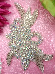 XR49 Crystal AB Aurora Borealis Applique Silver Beaded Floral  5.75""