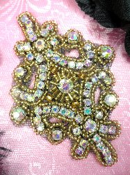 XR5  Gold W/ Black Backing Aurora Borealis Glory Crystal AB Gold Beaded Applique 4""