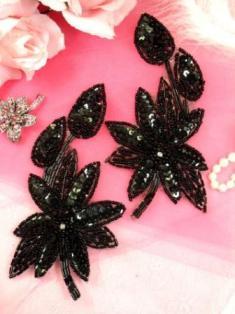 "XR51 Black Floral Mirror Pair Beaded Sequin Appliques 6"""