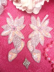 """XR51 Light Pink Crystal Aurora Borealis AB Floral Mirror Pair Beaded Sequin Appliques 6"""""""