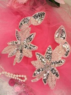 """XR51 Silver Floral Mirror Pair Beaded Sequin Appliques 6"""""""