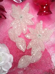 """XR51 Crystal Floral Mirror Pair Beaded Sequin Appliques 6"""""""
