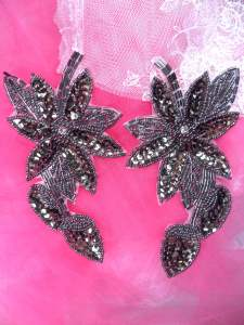 """XR51  Smoke Floral Mirror Pair Beaded Sequin Rhinestone Centered Appliques 6"""""""