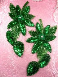 """XR51  Kelly Green Floral Mirror Pair Beaded Sequin Rhinestone Centered Appliques 6"""""""