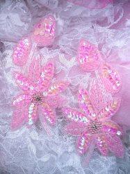 "XR51 Pink Aurora Borealis AB Floral Mirror Pair Beaded Sequin Appliques 6"""
