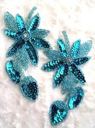 """XR51 Turquoise Floral Mirror Pair Beaded Sequin Appliques 6"""""""