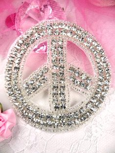 XR64 Crystal Clear Silver Beaded Peace Sign Rhinestone Applique