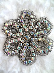 "XR65 Black Backing Crystal AB Aurora Borealis Floral Silver Beaded Rhinestone Applique 2.75"" Hot Fix Iron on"