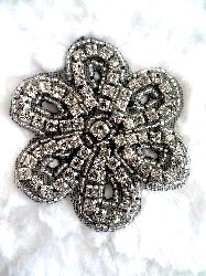 "XR65 Black Backing Floral Silver Beaded Crystal Rhinestone Applique 2.75"" Hot Fix Iron on"