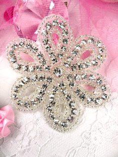 "XR65 Crystal Clear Silver Beaded Floral Rhinestone Applique 2.75"""