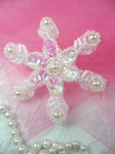 """XR72  Crystal AB Pearl Snowflake Beaded Sequin Applique 2.5"""""""