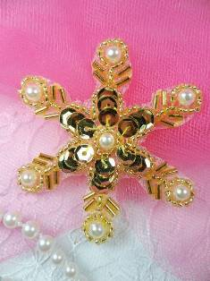 """XR72 Gold Pearl Snowflake Beaded Sequin Applique 2.5"""""""
