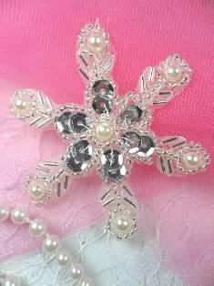 "Silver Pearl Snowflake Beaded Sequin Applique 2.5"" JB125"
