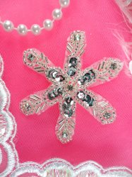 "Crystal Rhinestone Snowflake Applique Silver Sequins and Beads 2.5"" (XR74)"