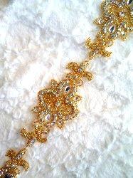 """XR75 Gold Beaded Crystal AB Aurora Borealis Rhinestone Trim 34"""""""