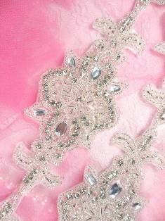 "Rhinestone Trim Silver Beaded With Crystal Costume Designers Dream 34"" x 2.5"" XR75"