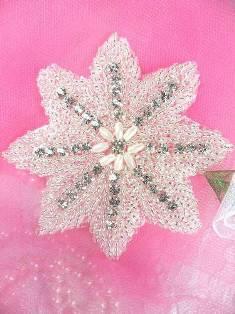 """XR77 Silver Beaded W/ Pearls Floral Crystal Rhinestone Applique 3.5"""""""