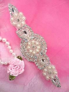 """XR78 Silver Pearl Beaded Crystal Rhinestone Applique 6"""""""