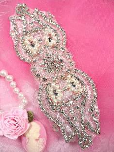 XR81 Silver Pearl Sequin Beaded Crystal Rhinestone Applique 5.75""