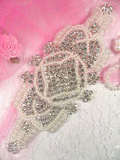 """XR89 Silver Pearl Beaded Crystal Rhinestone Applique 7.25"""""""