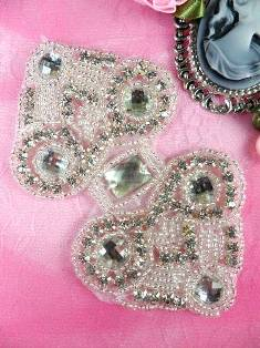 XR93  Silver Beaded Rhinestone Applique 4.25""