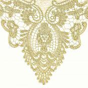 "Bodice Applique Embroidered Yoke Collar Neckline Lace Motif Antique Gold Metallic 13.5"" (Y3)"