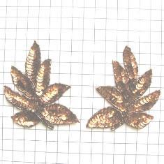 "FS476L Leaf Applique Sequin Bronze Mirror Pair Beaded Motif 4"""
