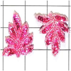 "FS476S Leaf Appliques Sequin Fuchsia Mirror Pair Beaded Motif 2"""