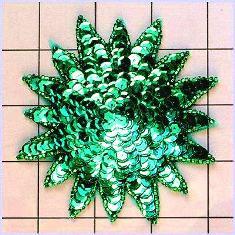 "FS3378 Green Starburst Beaded Sequin Applique 4"""