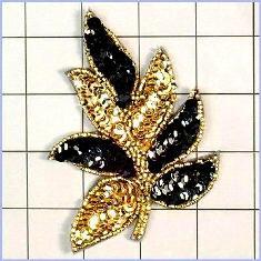 "FS476 Leaf Applique Sequin Gold Black Combo Beaded Motif 4"""