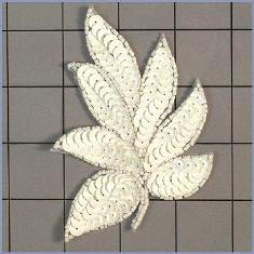 "FS476 Leaf Applique Sequin Chalk White Beaded Motif 4"""