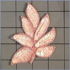"FS476 Leaf Applique Sequin Ceylon Pink Beaded Motif 4"""