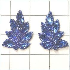 "FS476S Leaf Appliques Sequin Blue Sapphire Mirror Pair Beaded Motif 2"""