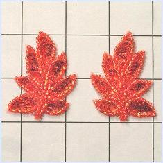 "XR293 Leaf Appliques Sequin Red Mirror Pair Beaded Motif 2"""