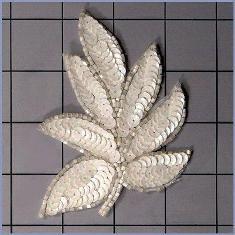 "FS476 Leaf Applique Sequin White Iris Satin Beaded Motif 4"""