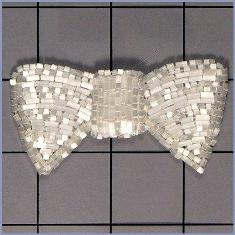 FS325 Bow Applique White Satin Beaded 3.0""