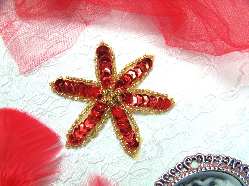 """A0416C  Gold Red Floral Beaded Sequin Applique 2.5"""""""
