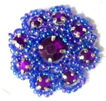 A0474A  Purple AB Rhinestone Jewel Floral Applique 1.25""