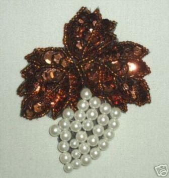 """K8260  Bronze Grape Cluster Pearl Sequin Beaded Applique 3.5"""""""