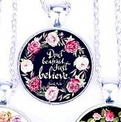 Scripture Necklace Dont Be Afraid Just Believe Pendant Inspirational Christian Jewelry w/ Silver Chain JW124