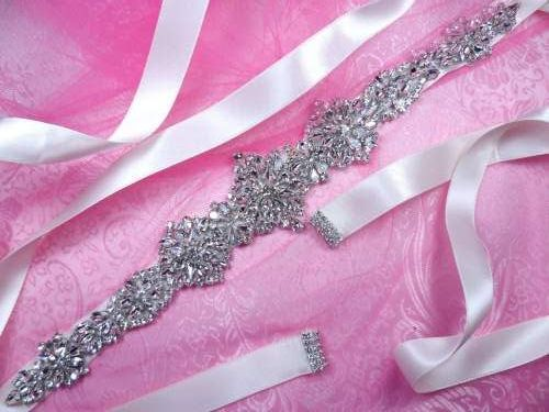 JB232 Bridal Sash Silver Crystal Clear Glass Rhinestone Ivory Ribbon  13.75""