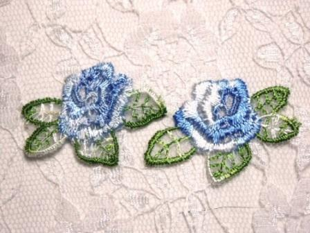 ACT/C107 Blue Rose Floral Mirror Pair Embroidered Appliques