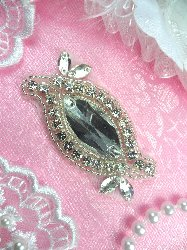 ACT/XR280A Eye Shaped Silver Beaded Crystal Glass Rhinestone Applique 2.5""