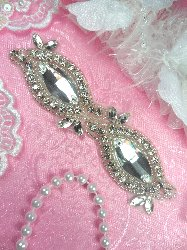 ACT/XR280Bx Eye Shaped Silver Beaded Crystal Glass Rhinestone Applique 5""
