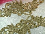 """N92 Venise Lace Appliques Mirror Pair Antique Gold Metallic 11.75"""""""