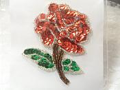"""Floral Applique Sequin Beaded Patch Motif Red Self Adhesive 3.25"""" (LC1651)"""