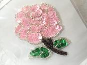 """Floral Applique Sequin Beaded Patch Motif Pink Self Adhesive 3.25"""" (LC1651)"""